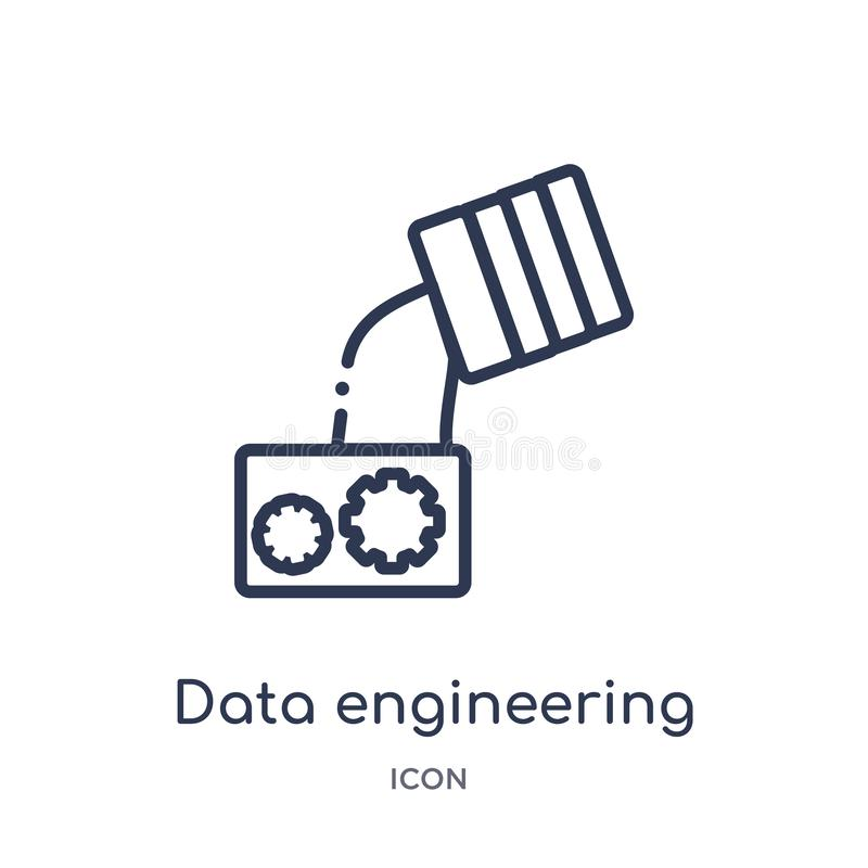 Datos lineares que dirigen el icono de la colección del esquema general Línea fina icono de la ingeniería de los datos aislado en ilustración del vector