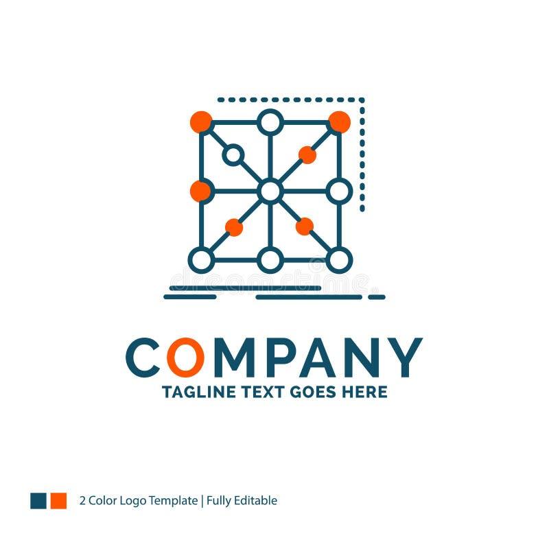 Datos, marco, App, racimo, Logo Design complejo Azul y Ora stock de ilustración