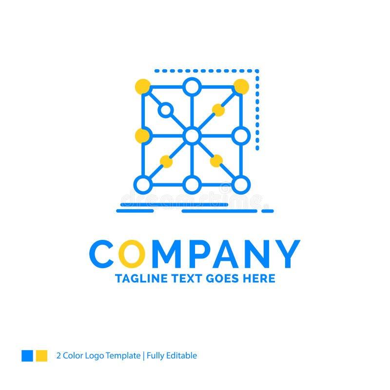 Datos, marco, App, racimo, logotipo amarillo azul complejo del negocio stock de ilustración