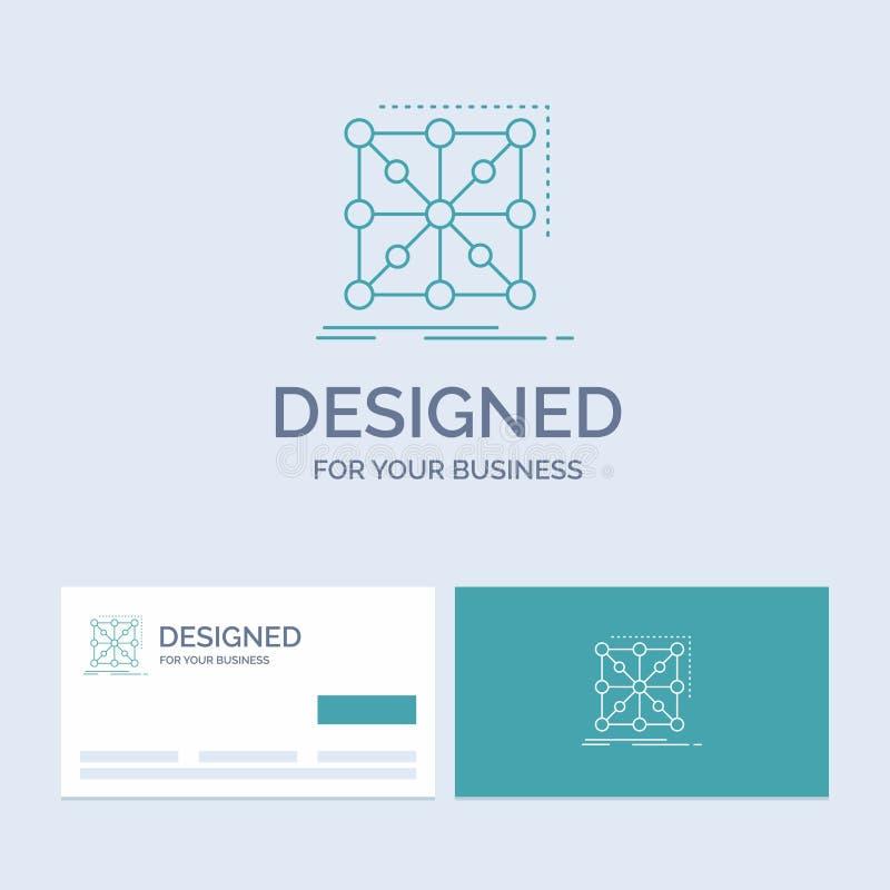 Datos, marco, App, racimo, negocio complejo Logo Line Icon Symbol para su negocio Tarjetas de visita de la turquesa con el logoti stock de ilustración