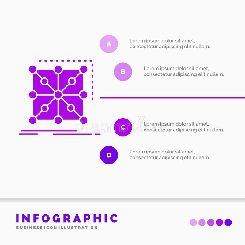 Datos, marco, App, racimo, plantilla compleja de Infographics para la página web y presentación Estilo infographic del icono p?rp stock de ilustración