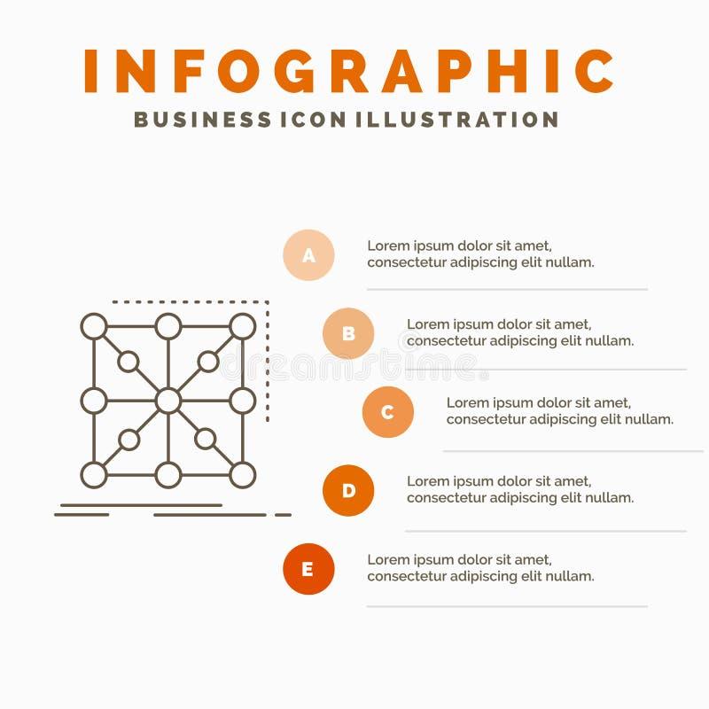 Datos, marco, App, racimo, plantilla compleja de Infographics para la p?gina web y presentaci?n L?nea icono gris con infographic  stock de ilustración