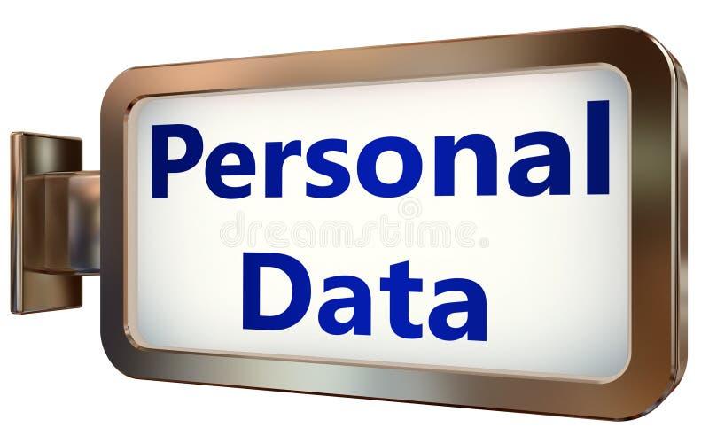Datos personales sobre fondo de la cartelera stock de ilustración