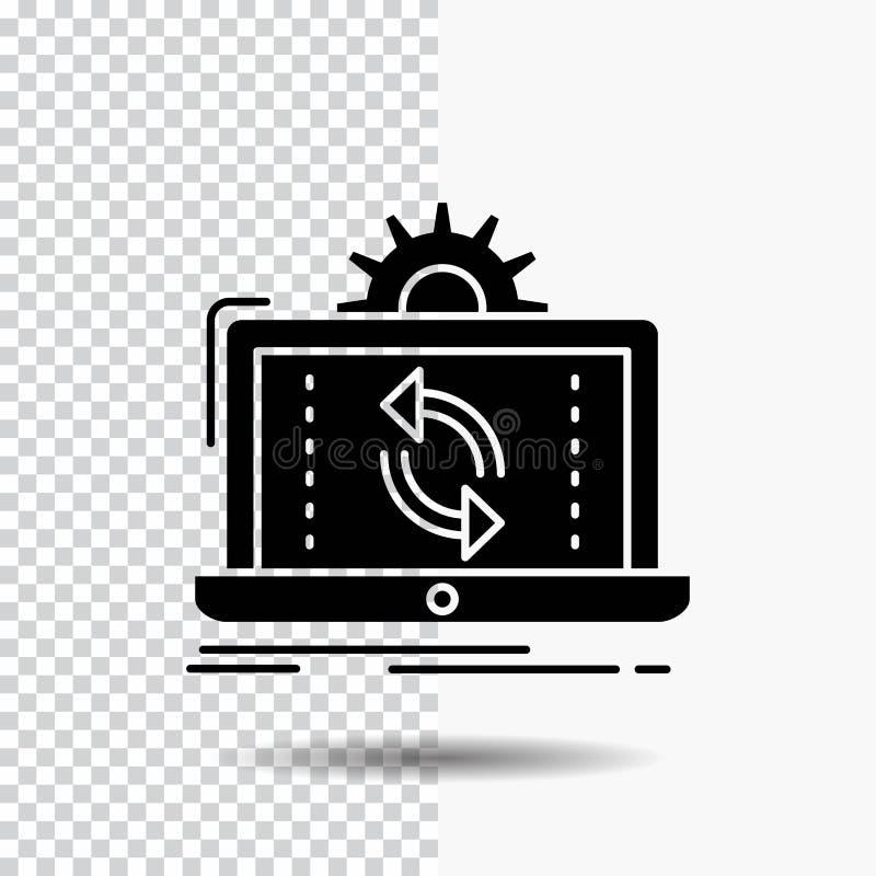datos, procesando, análisis, información, icono del Glyph de la sincronización en fondo transparente Icono negro libre illustration
