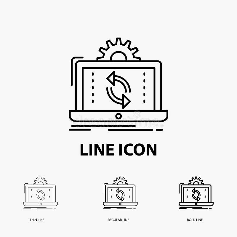 datos, proceso, análisis, información, icono de la sincronización en la línea estilo fina, regular e intrépida Ilustraci?n del ve ilustración del vector