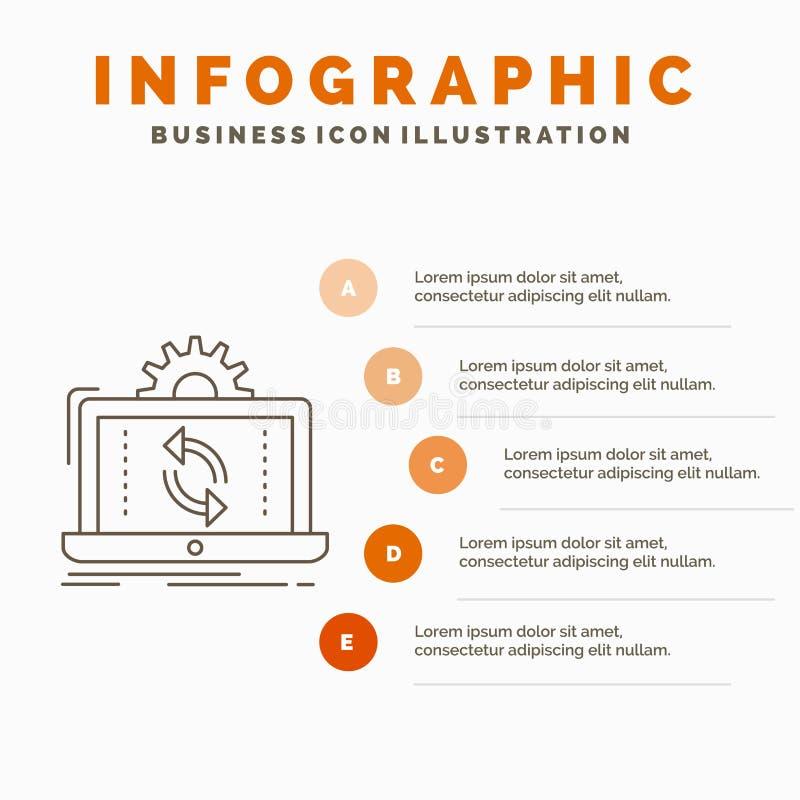 datos, proceso, an?lisis, informaci?n, plantilla de Infographics de la sincronizaci?n para la p?gina web y presentaci?n L?nea ico ilustración del vector