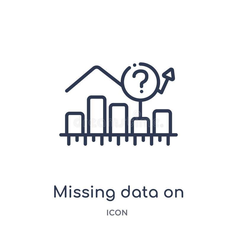 Datos que falta lineares sobre la línea icono del analytics del gráfico de la colección del esquema del negocio Línea fina datos  libre illustration