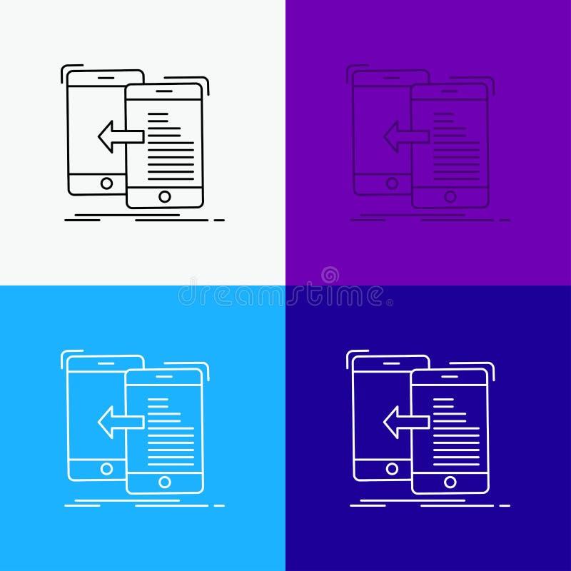datos, transferencia, móvil, gestión, icono del movimiento sobre diverso fondo L?nea dise?o del estilo, dise?ado para la web y el ilustración del vector