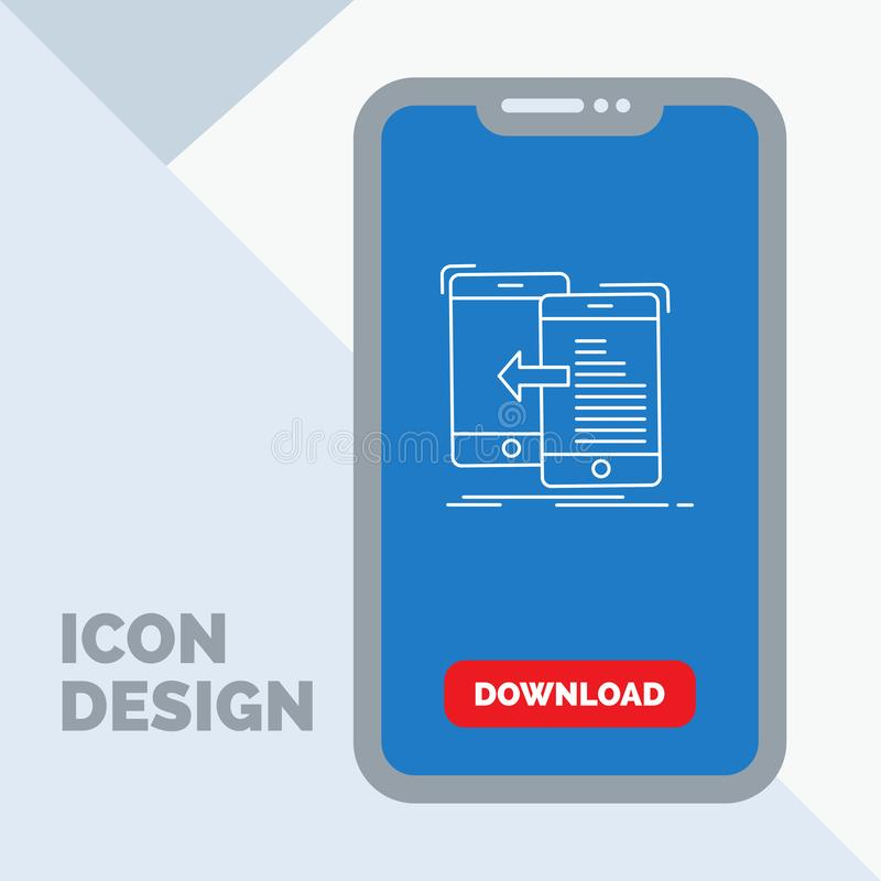 datos, transferencia, móvil, gestión, línea icono del movimiento en el móvil para la página de la transferencia directa ilustración del vector