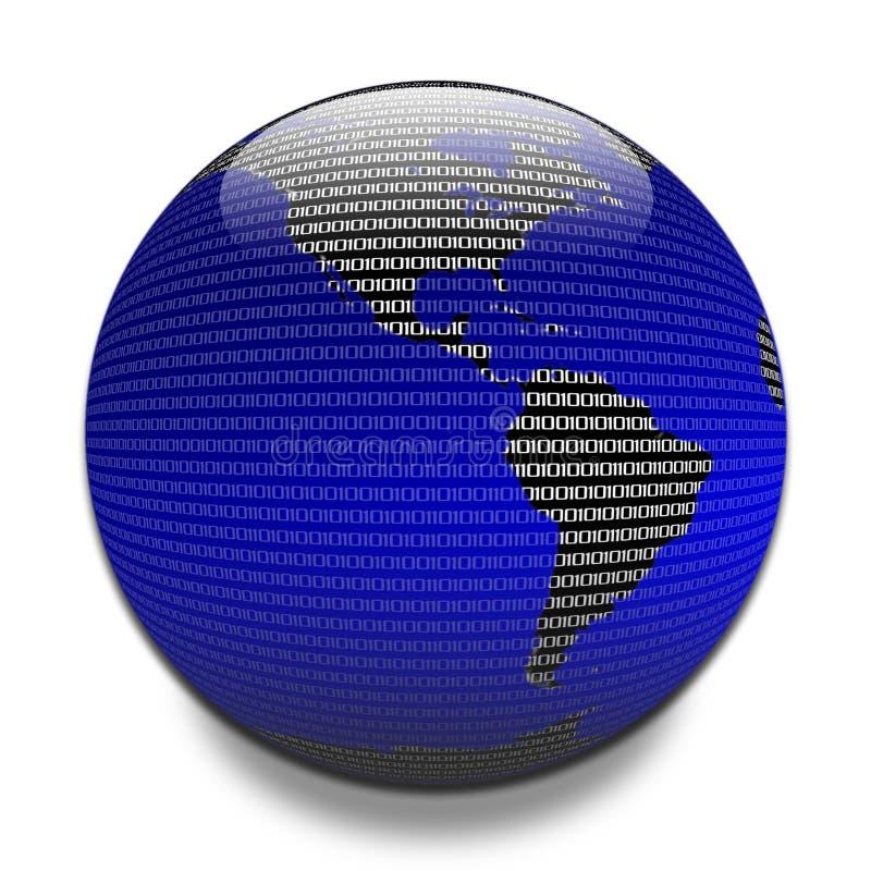 Datos a través del globo ilustración del vector