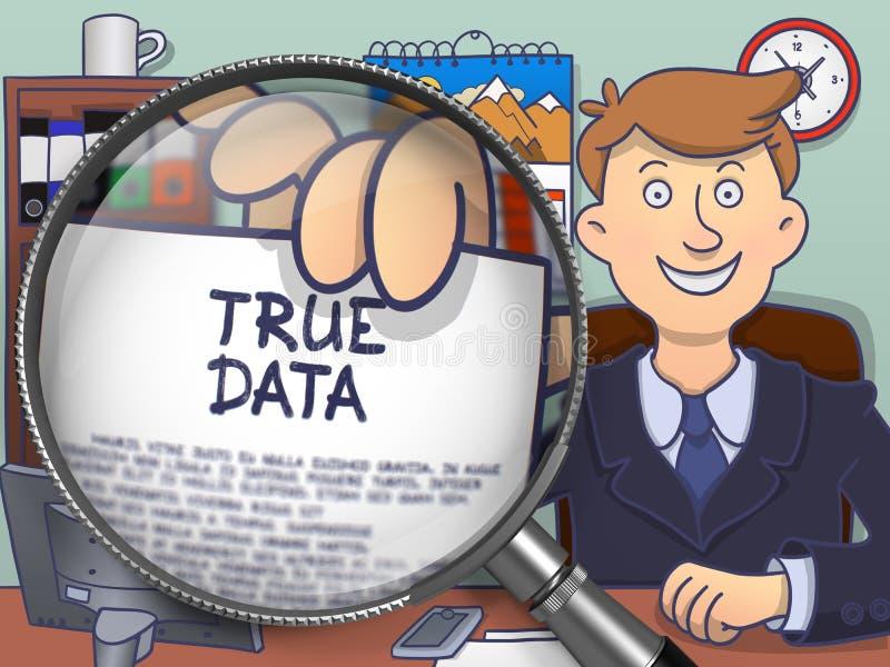Datos verdaderos a través de la lente Concepto del garabato ilustración del vector