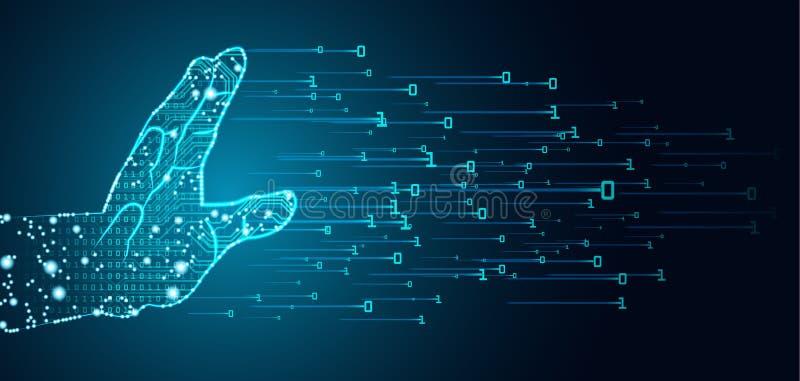 Datos y concepto grandes de la dominación de la inteligencia artificial stock de ilustración
