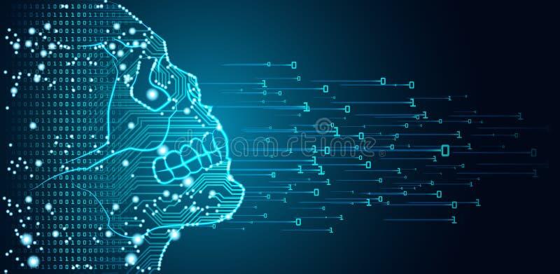 Datos y concepto grandes del peligro de la inteligencia artificial stock de ilustración
