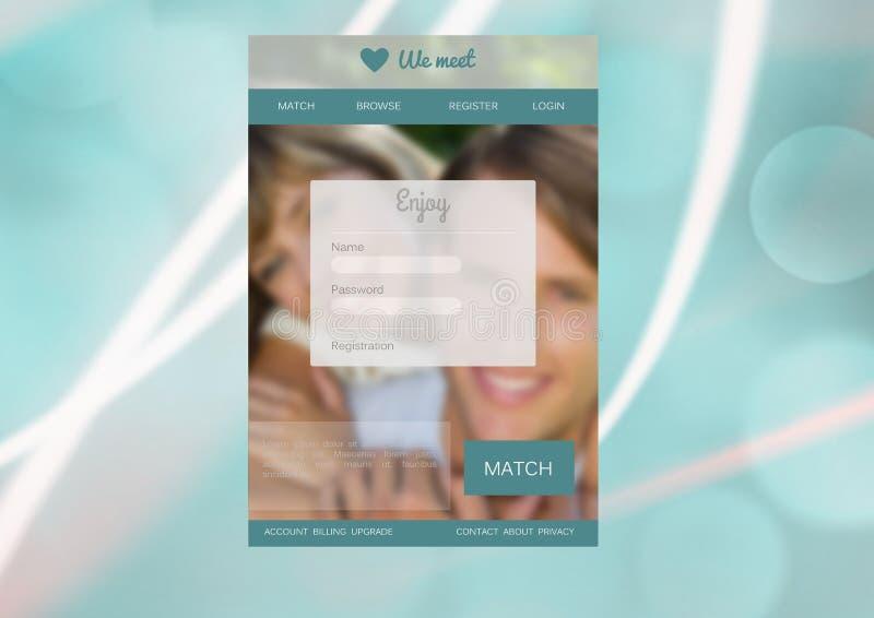 Datowanie App interfejs obrazy royalty free