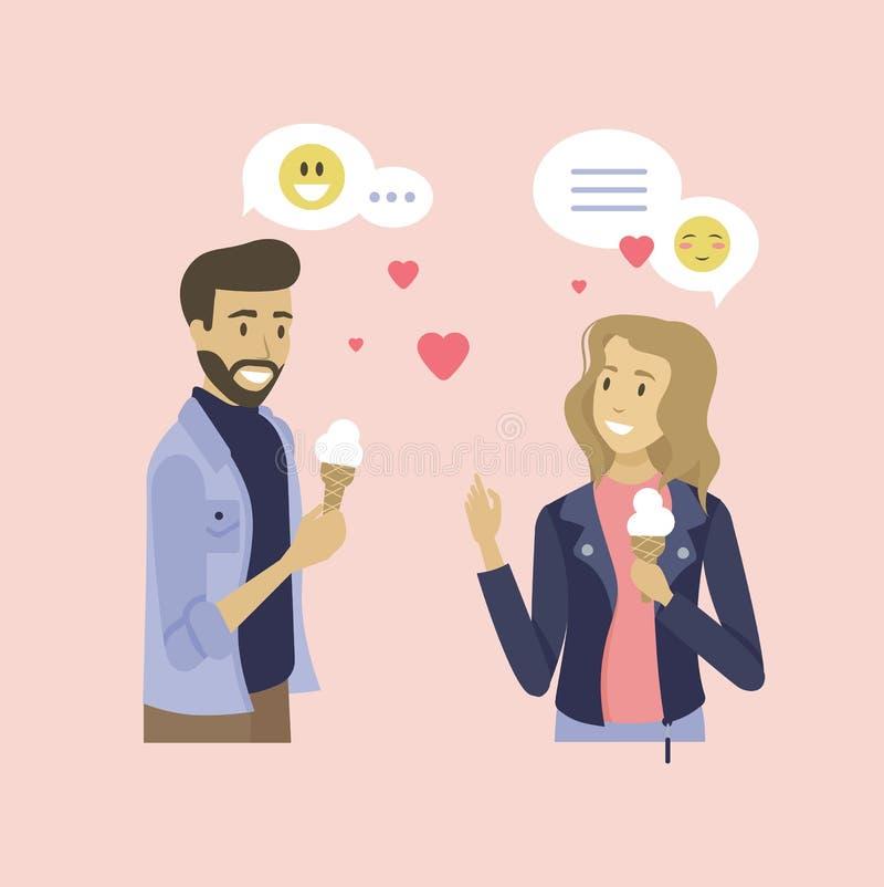 Datowanie ludzi, mężczyzny i kobiety spotkania wektor, ilustracja wektor