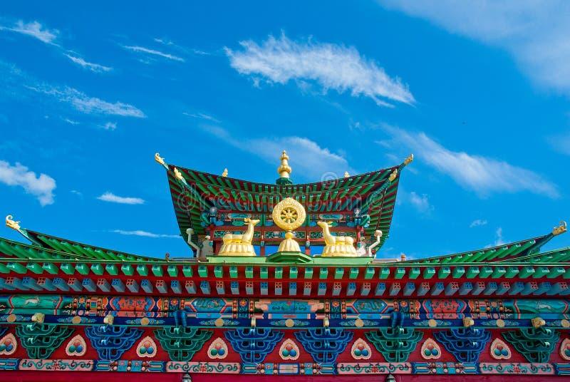 Datsan Ivolginsky, het dak van een Boeddhistische tempel stock foto