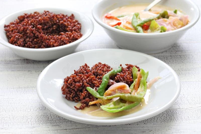 Datshi con riso rosso, cucina di AME del bhutanese immagine stock