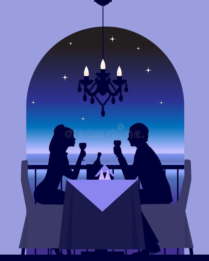 Datte romantique de dîner illustration libre de droits