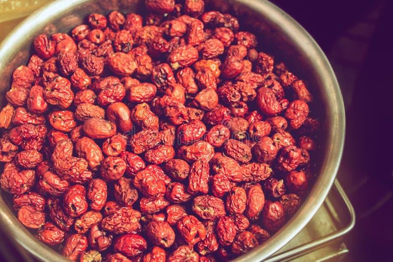 Dattero rosso secco o giuggiola cinese, frutti con il contenuto più elevato della vitamina C fotografie stock libere da diritti