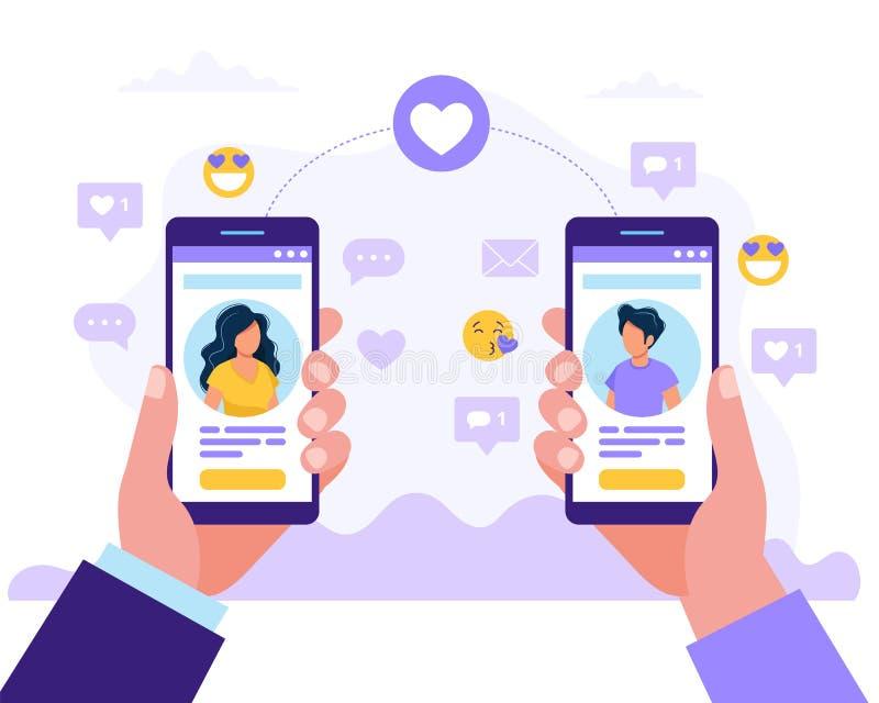 Datujący usługowych app, mężczyzny i kobiety mienia smartphones z each inny, profil Wirtualny związek, znajomość wewnątrz ilustracja wektor