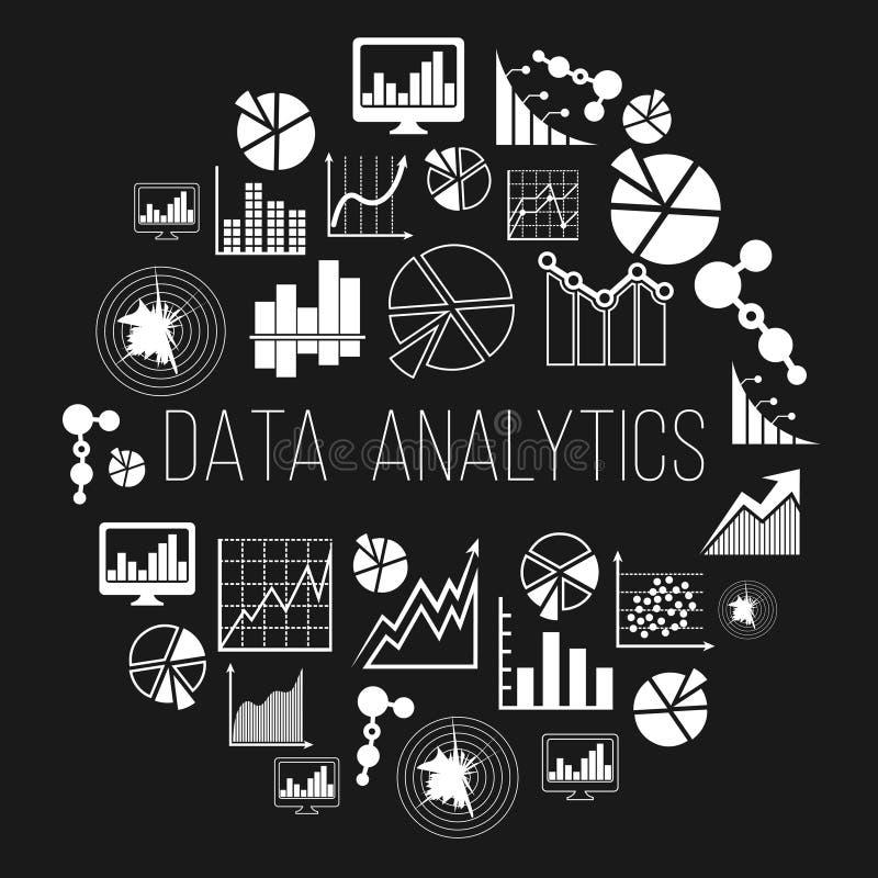Datum analytics label or data informatics vector badge. Datum analytics label or data analytics and informatics vector badge. Statistic market economy stock illustration