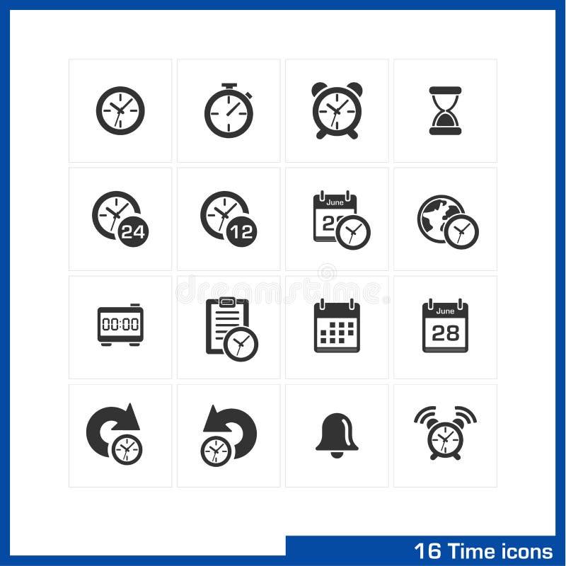 Datum en tijd geplaatste pictogrammen royalty-vrije illustratie