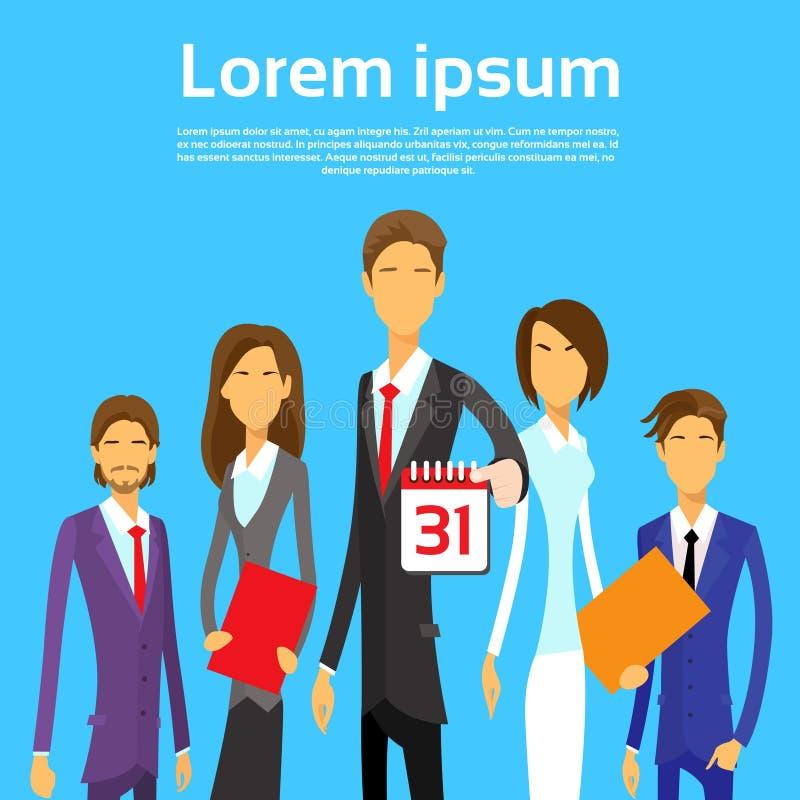Datum för kalender för grupp för affärsfolk sista dagmånad stock illustrationer