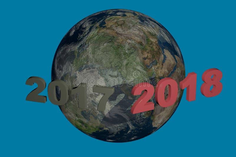 Datum 2018 för nytt år ovanför 2017 illustrationen 3d framför fotografering för bildbyråer