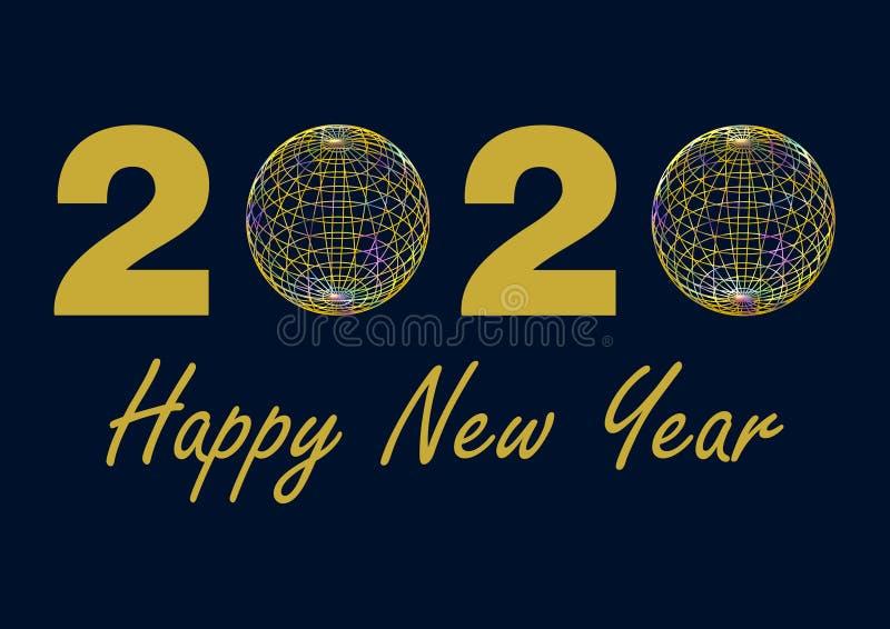 Datum 2020 i guld, med nollna som byts ut av färgrika trådbollar med HNY-hälsning stock illustrationer