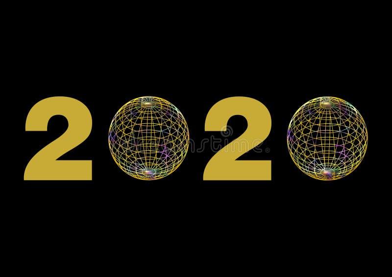 Datum 2020 im Gold, wenn die null durch bunte Drahtbälle ersetzt sind stockbild
