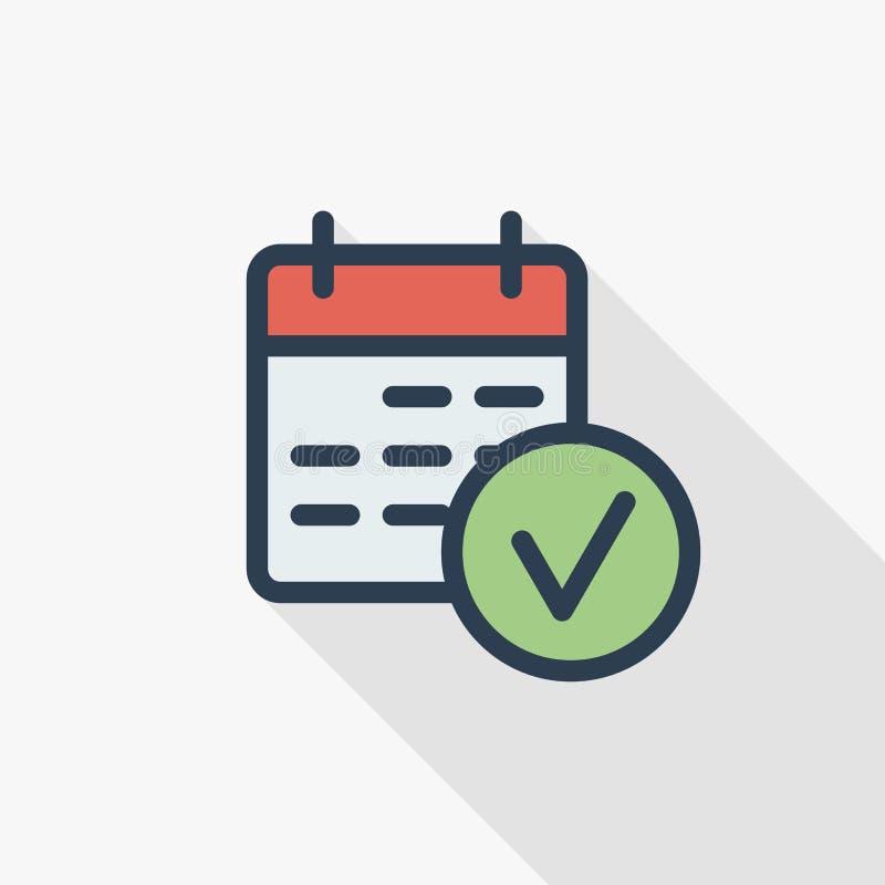 Datum und Zeit, Kalender und schließen ab, überprüfen, markieren dünne Linie flache Farbikone des Ereignisses Lineares Vektorsymb lizenzfreie abbildung
