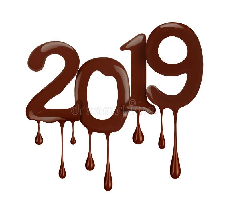 Datumet av det nya året visas 2019 år i chokladversion vektor illustrationer