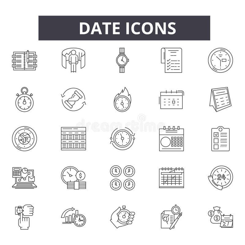 Datumlinje symboler för rengöringsduk och mobil design Redigerbart slaglängdtecken Illustrationer för datumöversiktsbegrepp vektor illustrationer
