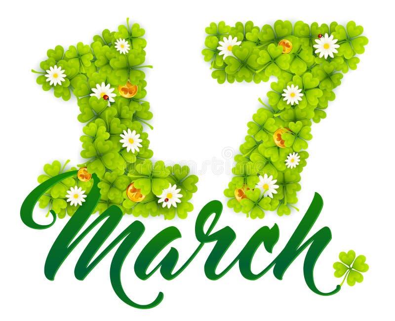 17 datumnummer för marsch som göras från gröna växter av släktet Trifolium, guld- irländaremynt och kamomillar royaltyfri illustrationer