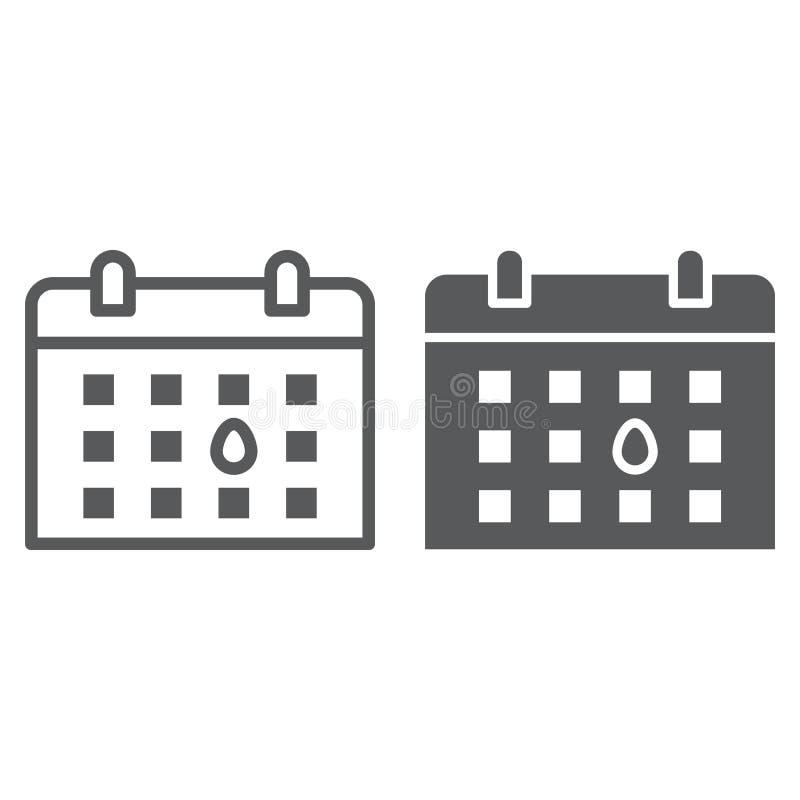 Datumsgrenze und Glyphikone, Monat und Tag, Anzeigenzeichen, Vektorgrafik, ein lineares Muster auf einem weißen Hintergrund lizenzfreie abbildung