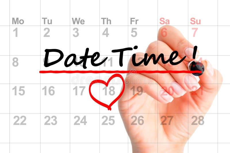 Datumtijd duidelijk op kalender stock foto