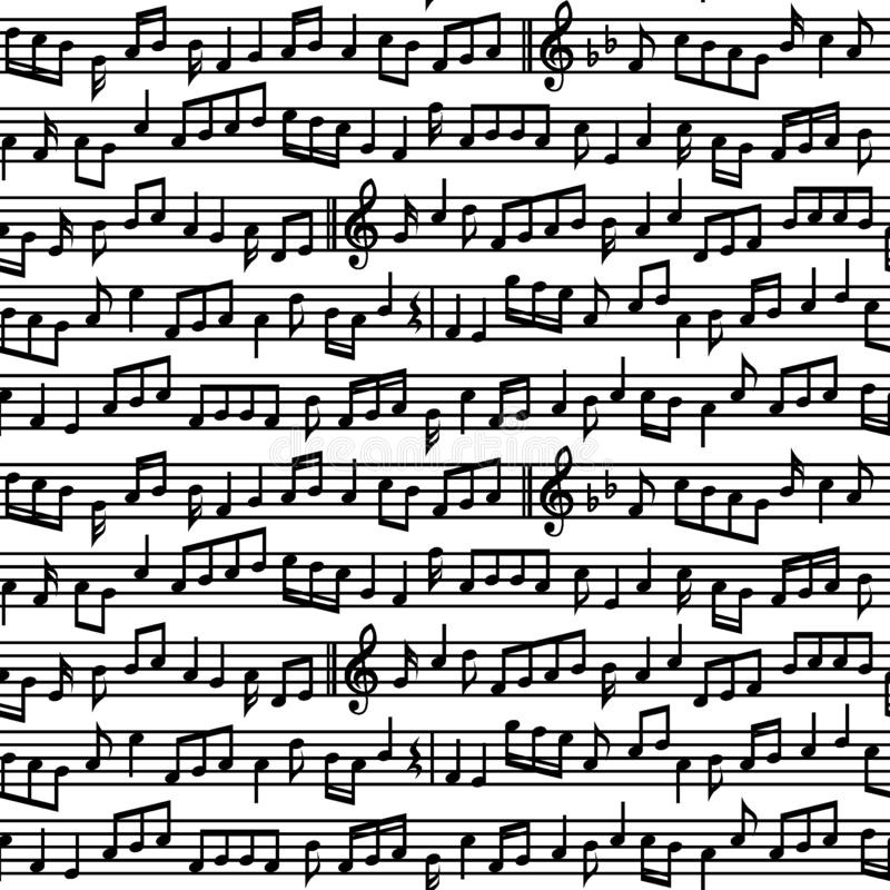 Daube mit Musik merkt nahtloses Muster Schwarzweiss-Musik merkt nahtloses Muster des Blattes vektor abbildung