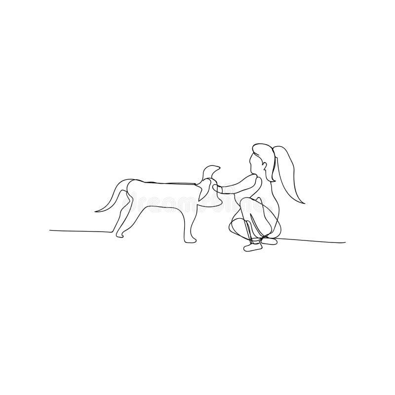 Dauerzeichnung der Frau, die mit dem Hund spaziert Einzelskizze für Frauen, die mit dem Konzept der Hundelinie laufen Konturschic vektor abbildung