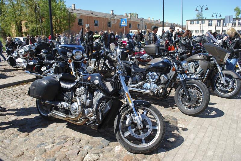 Daugavpils/Lettonia - 5 maggio 2018: Riunione annuale dei motociclisti dai paesi baltici nel Daugavpils immagine stock libera da diritti