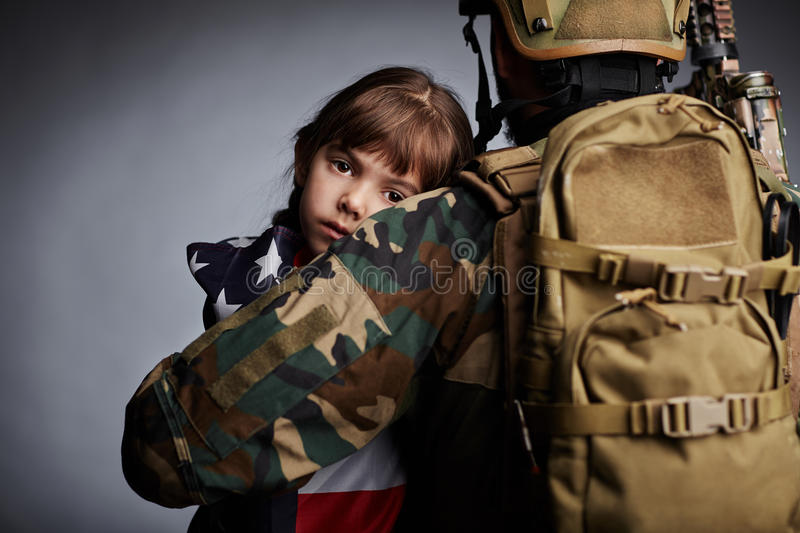 Daughter of American soldier royalty free stock images