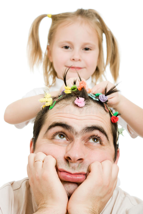 Daughter Of Braids Cornrows His Father Stock Image