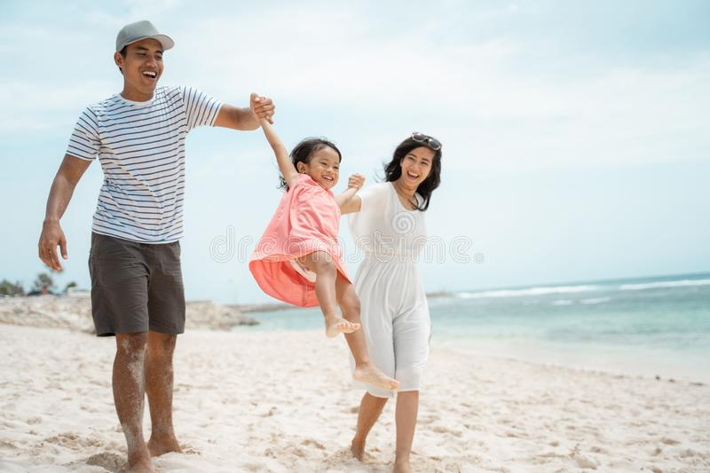 Daughter enjoy special moment on holiday stock image