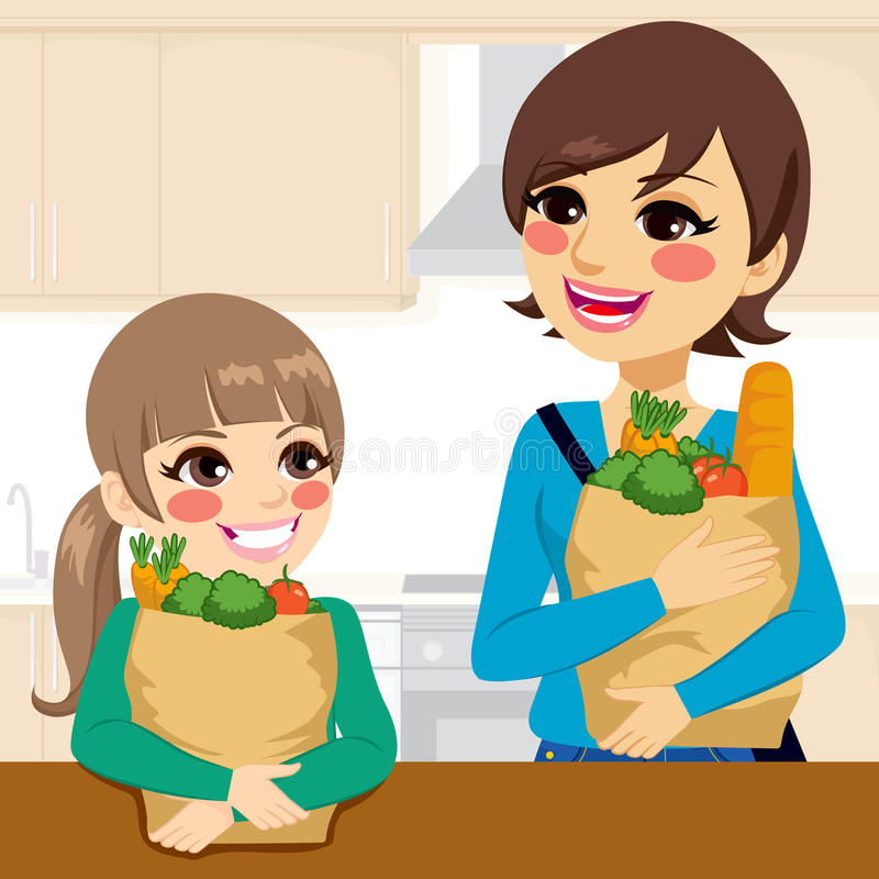 Daughter Helping Mother Carrying Groceries royalty free illustration