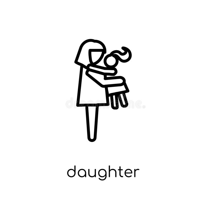 daughter icon. Trendy modern flat linear vector daughter icon on royalty free illustration