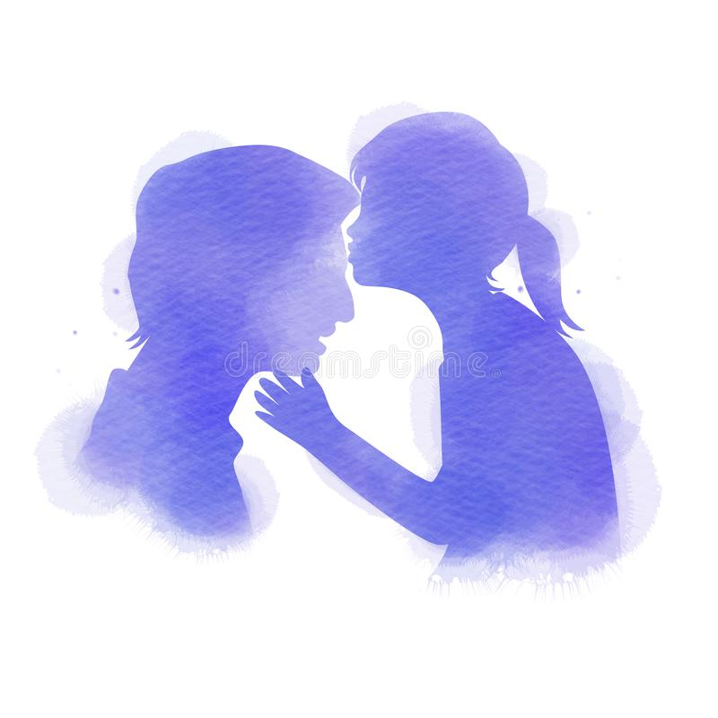 Daughter kissing her father silhouette plus abstract watercolor painted. Happy father`s day. Digital art painting. Vector. Illustration vector illustration