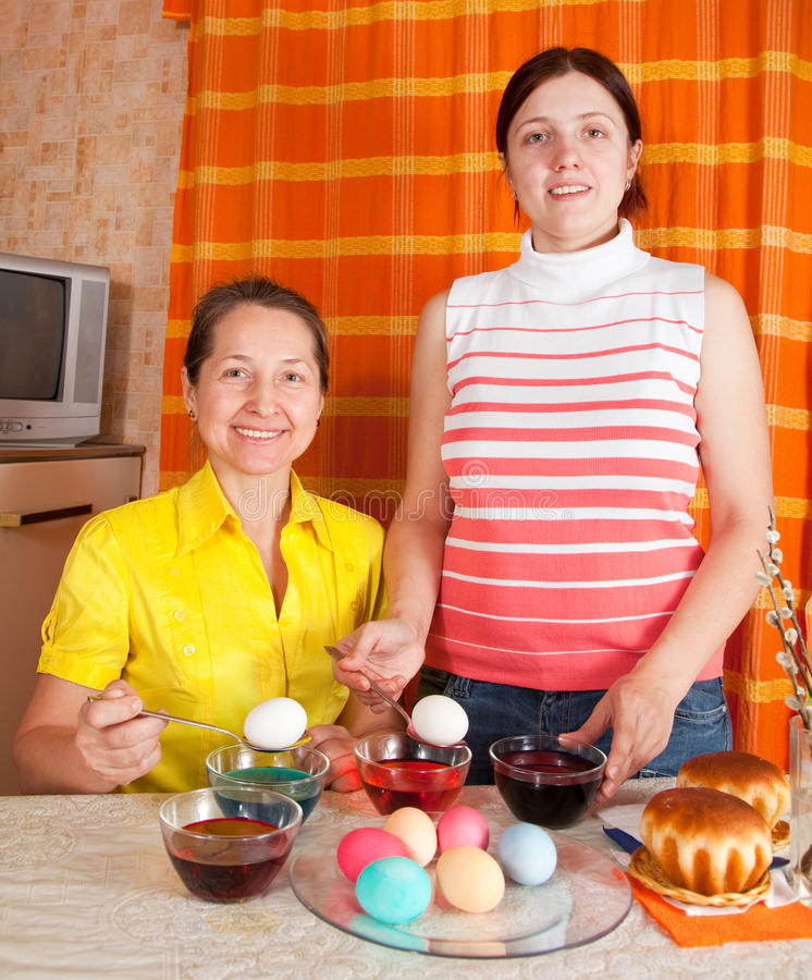 Download Daughter And Mother  Coloring Eggs Stock Image - Image: 18148993