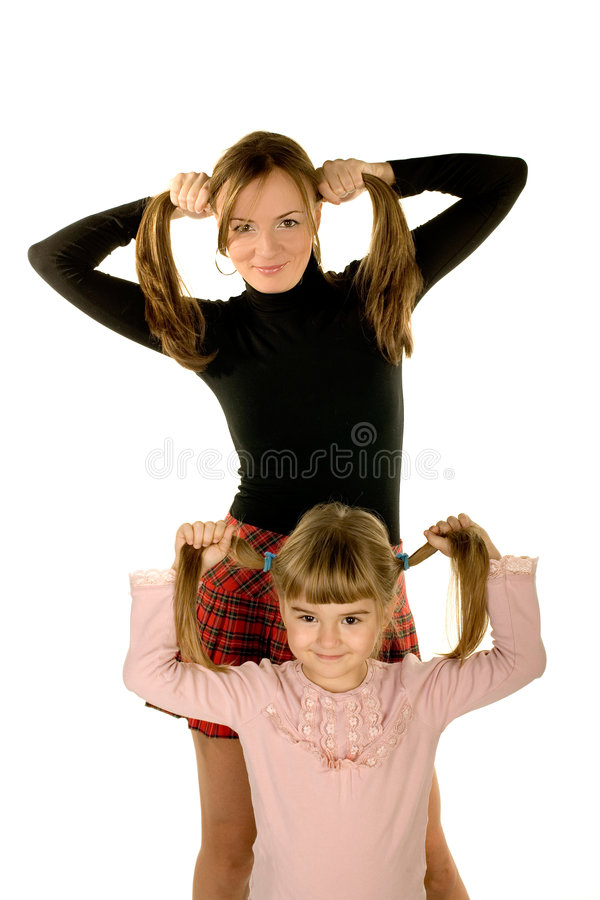 Daughter and mother having fun stock images