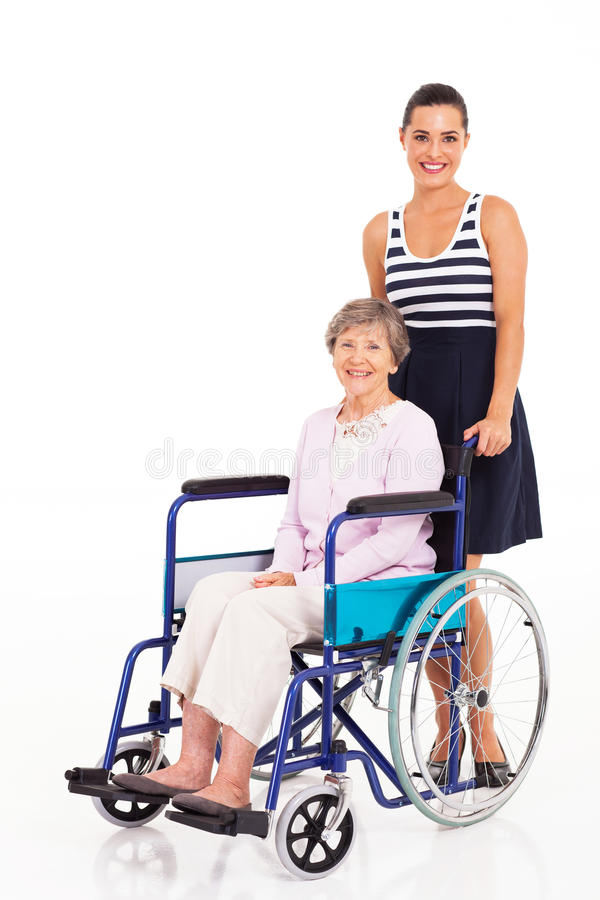 Daughter Mother Wheelchair Royalty Free Stock Photography