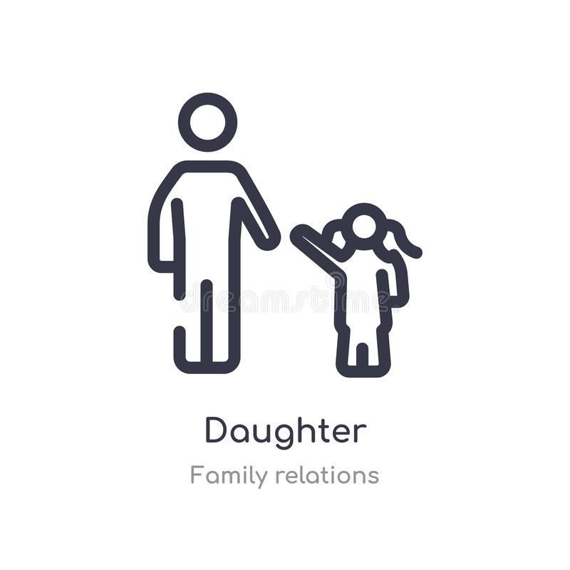 daughter outline icon. isolated line vector illustration from family relations collection. editable thin stroke daughter icon on vector illustration