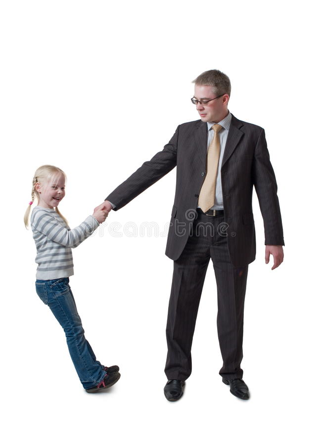 Daughter pulls father for hand royalty free stock photos